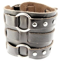 Neptune Giftware Wide Triple Strap Leather Cuff Wrap Gothic Wristband Bracelet With Buckle Fastening - VERY DARK BROWN LEATHER