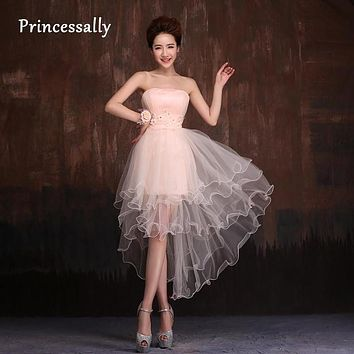 High Low Bridesmaid Dress Light Pink Short Front Long Back Puffy Tulle Sweet Plus Size Bridesmaid Party Prom Dresses Under 50