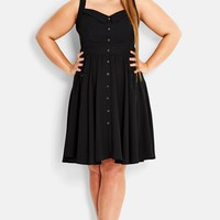 Plus Size Women's City Chic Button-Up Swing Dress