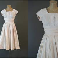 50s Pink Cotton Dress, 32 bust, Full Pleated Skirt, Fit & Flare 1950s Day Dress with Lace Trim, Gathered Waist