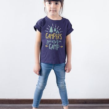 Kids Funny Campers T Shirt Campers Gonna Camp Shirt Camping Tshirt Forest Tent Shirts