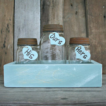 Wedding Sand Ceremony Set - Country, Shabby Chic, Rustic, Woodland - Mason Jar Set - Annie Sloan Chalk Paint