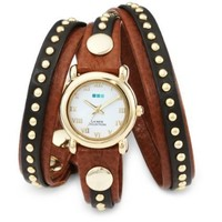 La Mer Collections Women's LMSW3001 Brown Gold Bali Stud Wrap Watch - designer shoes, handbags, jewelry, watches, and fashion accessories | endless.com