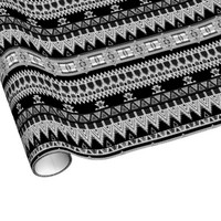 Black and White Tribal Geometric Pattern Gift Wrap Paper