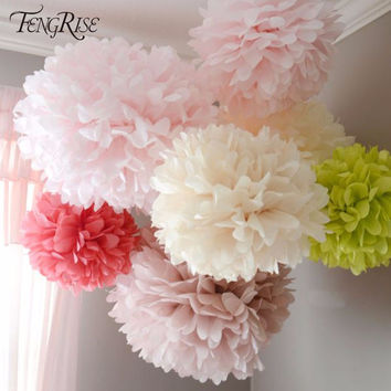 FENGRISE 3 piece 15 20 cm Tissue Paper Pom Poms Craft Pompoms Ball Flower Wedding Decoration Baby Shower Birthday Party Supplies