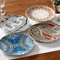 PAISLEY SALAD PLATES, MIXED SET OF 4