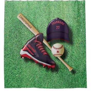 Baseball Shoe Bat Ball Hat With Name And Team Name Shower Curtain