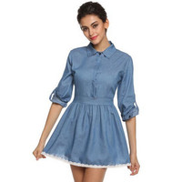 Blue Denim Skater Dress
