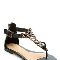 Black Faux Leather T Strap Chained Up Sandals