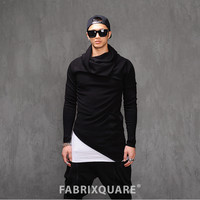 Diagonal Cut Drape Turtle-Neck Extended Slim Sweater