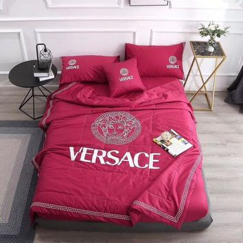 Red VERSACE Bedding Blanket Quilt Coverlet Pillow Shams 5 PCS Bedding Set