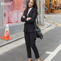 DCCKON3 rugod Women blazer trousers suit casual elegant ladies trouser suits striped formal pant suits Women business suits