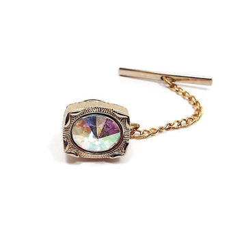 Swank Vintage AB Rivoli Rhinestone Tie Tack Gold Tone Mens Mid Century Groovy Hipster Jewelry Guys Bling