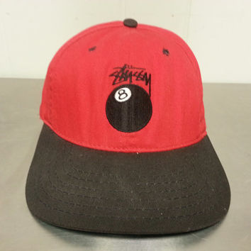 Vintage 80's 90's Stussy 8 Ball Snapback Hat Street Wear Made In USA Hip Hop Skate Wear Stussy Capz Red