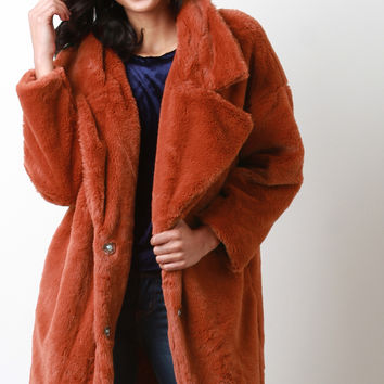 Oversize Lapel Collar Faux Fur Coat | UrbanOG