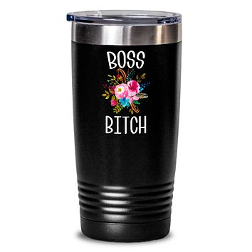 Boss Bitch Tumbler Coffee Mug Like A Boss Lady Boss Babe Coworker Gifts Funny Insulated Travel Cup BPA Free