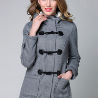 Fashion Hooded Long Sleeve Horn Button Fleece Coat - NOVASHE.com