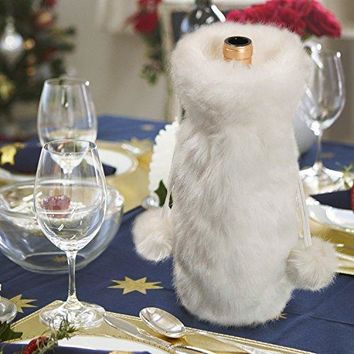 EDLDECCO Snowy White Cozy Faux Fur Wine Bag for Holiday party decorations gift  1 piece Snowy White