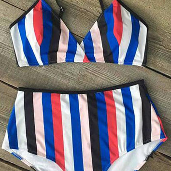 Cupshe Color the Coastline Stripe Bikini Set
