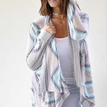 Blue and Grey Tribal Print Cardigan