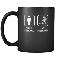 Ice Hockey Player -  Your husband My husband - 11oz Black Mug