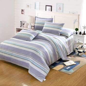 Multicolor geometric stripes Simple bedding set sanding cotton twin full Queen super King Size duvet cover flat sheet pillowcase