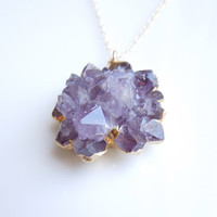 Amethyst Druzy Necklace : Rare Rose Tip Style