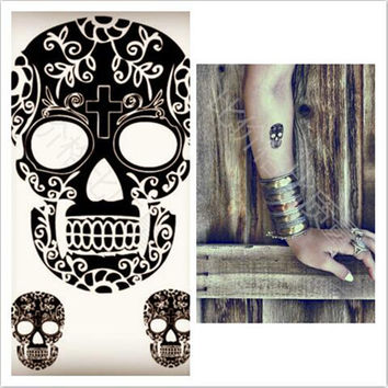 20pcs Halloween Skull Waterproof Temporary Tattoos Sticker Special Fake Costume Makeup Cosplay Halloween Decor Props