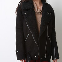 Oversize Shearling Asymmetrical Zipper Jacket