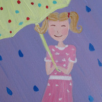 Rain Painting, Girl in the rain, Umbrella painting, 12x16, girl in pigtails