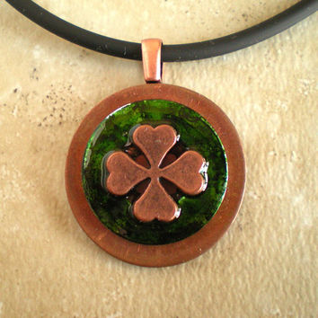 Shamrock Necklace: Mens Necklace - St Patricks Day - Mens Jewelry - Lucky Jewelry - Four Leaf Clover - Cord Necklace - Boyfriend Gift