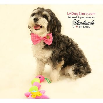 Hot Pink Dog Bow tie attached to collar, Dog birthday, Pet wedding ideas
