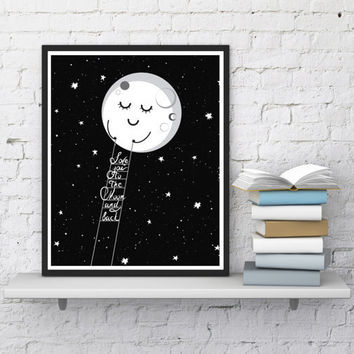 Sweet dreams Nursery decor Kids room Baby shower gift Moon print Kids quotes Playroom decor Kids print Digital print Instant download