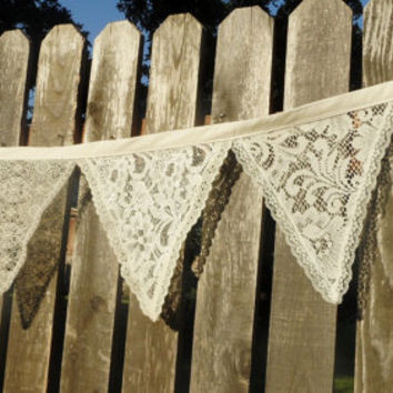 2 White or Ivory  Lace Beach Wedding Fabric Bunting 22 Ft Garland Of Flags Banner