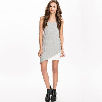 Grey Twist-Back Asymmetrical Sleeveless Shirt