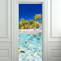 "Door LAMINATED STICKER Underwater, Ocean, Sea mural decole film self-adhesive poster 30x79""(77x200 cm)"