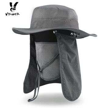 VIGER Unisex Summer Sun Hat Wide Brim Boonie Outddor Hat Bucket Fishing Hat Cap with Removable Neck and Face Flap for Men Women