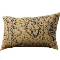 Travelogue Travel The Globe - Decorative Cotton Burlap Throw Pillow with Navy Print 20-In
