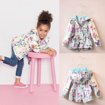 2016 Kids Girls Coat Clothing Tops Long Sleeve Outfits Cute Animals Print Jacket Coat Hooded Spring Fall Girl Outerwear