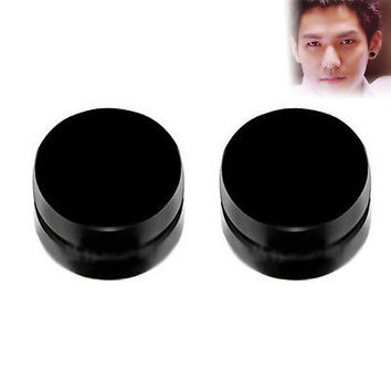 1 Pair Magnetic Ear Stud Non Piercing Clip Round Mens Women Fake Earrings HUUS