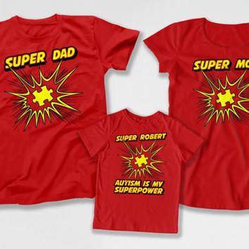Matching Family T Shirts Autistic Gifts For Kids Parent TShirt Autism Speaks Superhero Autism Is My Superpower Bodysuit DN-4(20-27-34)