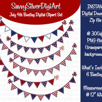 Patriotic July 4th Bunting Clipart - INSTANT DOWNLOAD Red White Blue, 4th of July Digital Clipart, Stars & Stripes Bunting Banner Flags CA86