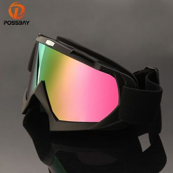 POSSBAY Cool Motorcycle Goggles Ski Motorbike Reflective Lens Glasses Off Road Dirt Bike Racing Goggles Scooter Accessories