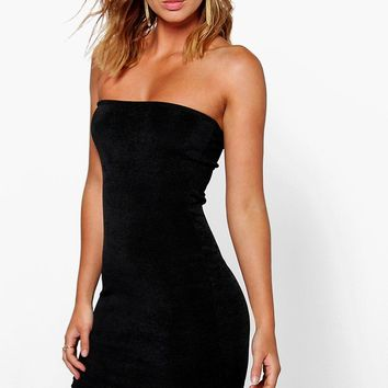 Zairis Textured Sliky Bandeau Bodycon Dress
