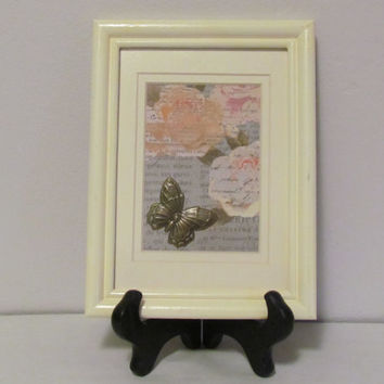 Repurposed OOAK Framed Art Butterfly Wall Art Shabby Chic Wall Art