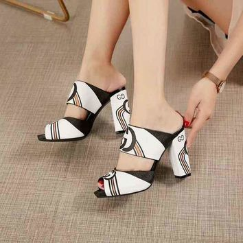 Gucci Sandals Fish Mouth Shoes 95mm Stiletto Heel White Black Leather Casual Women Slippers