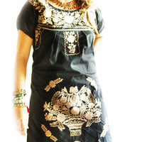 El Dorado  black Mexican embroidered dress slim fit