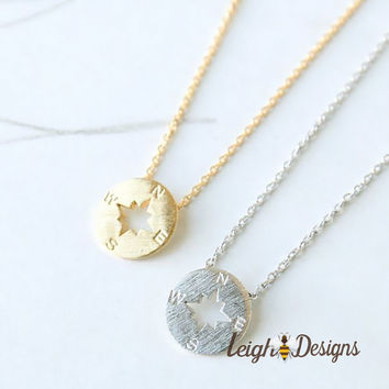 Compass Necklace, True North, Small Pendant Necklace, Silver Compass Necklace, Gold Compass Necklace