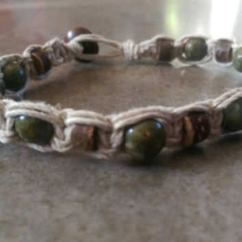 Mens Hemp Bracelet, Ukinite and Coconut Shells, Sleek Jewelry, Gift for Him, Natural, Men's Jewelry, Free USA Shipping