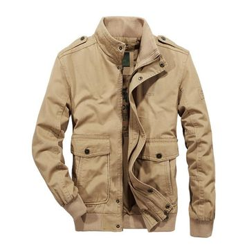 New Spring Autumn Man Military Casual Men Jacket Cotton Outwear Stand Man Coat Size M-5XL